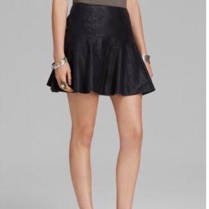 Free People black vegan leather mini skirt